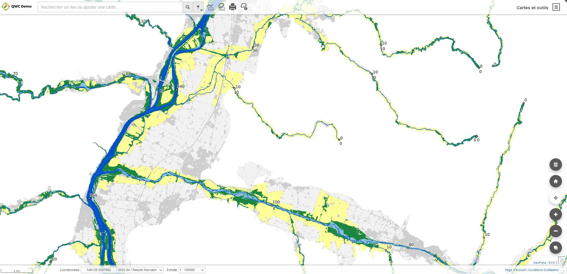 Extrait de la cartographie des EBF - GeoPeka